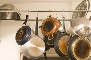 Clean pots and pans hanging