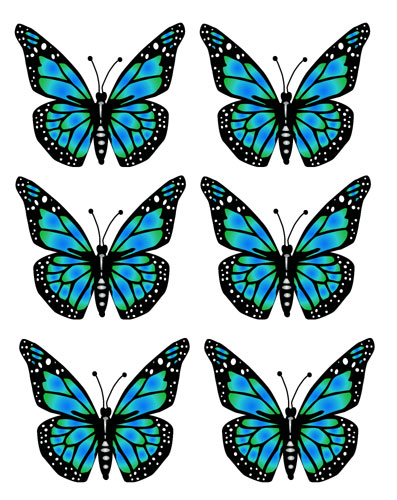 Blue Butterfiles Clipart Preview