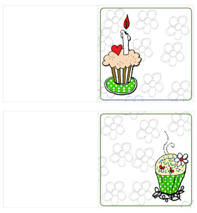 Cup Cake Cards Green Preview