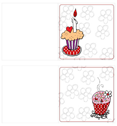 Cup Cake Cards Red Preview