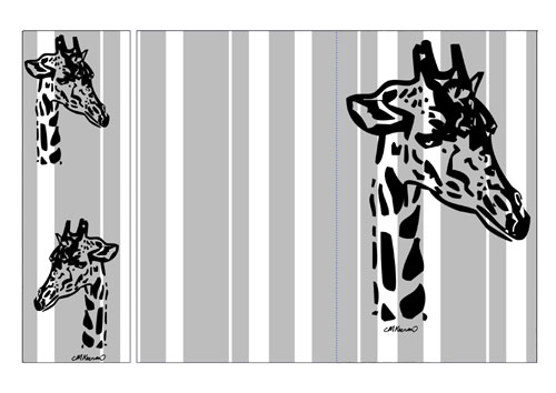 Giraffe Notelet and Bookmark Black Preview