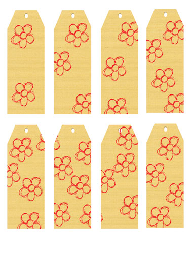 Linen Flower Luggage Tags Yellow