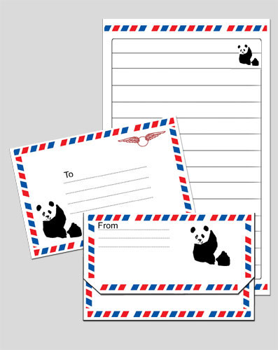 Panda Notepaper and Envelope Airmail Preview