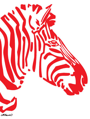 Zebra Poster Red Preview