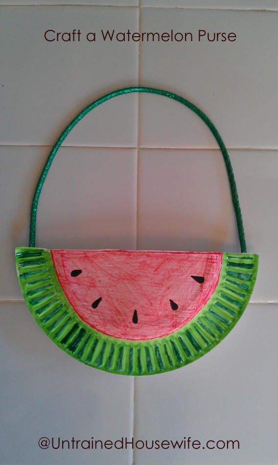 Craft A Paper Plate Watermelon Purse For Kids