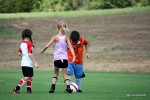 Soccer camp kids kicking ball