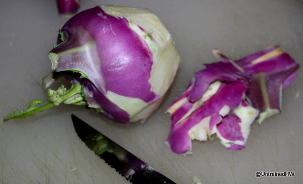 Remove tough kohlrabi skin