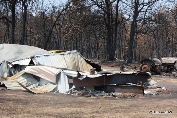 A mobile home burned by wildfires