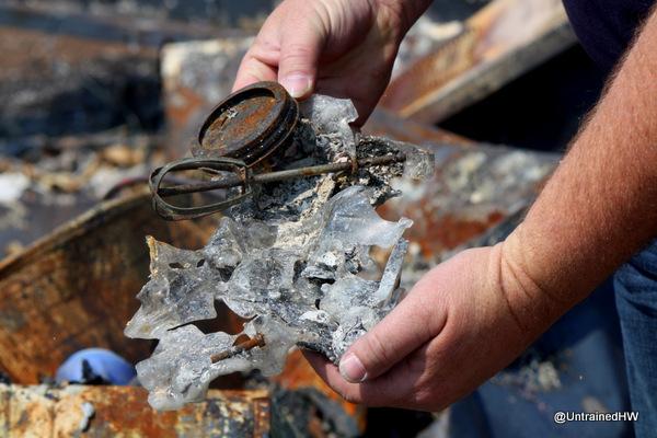 burned and melted mason jar