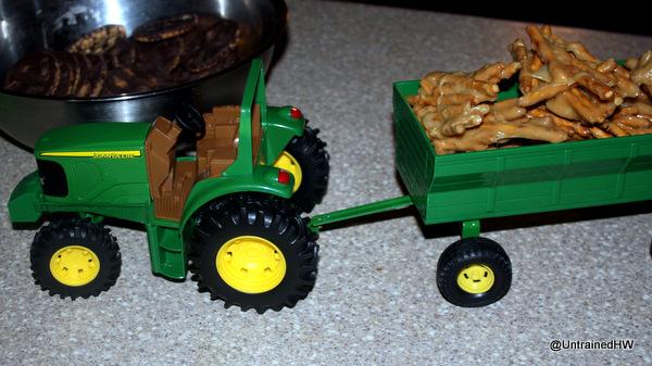 haystacks in a trailer