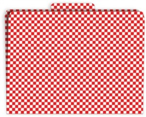 Red checkered file folders