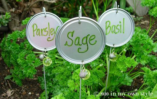 Repurposed Lid Garden Labels