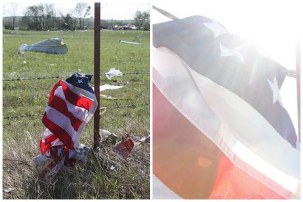 American flag in the debris of the tornado