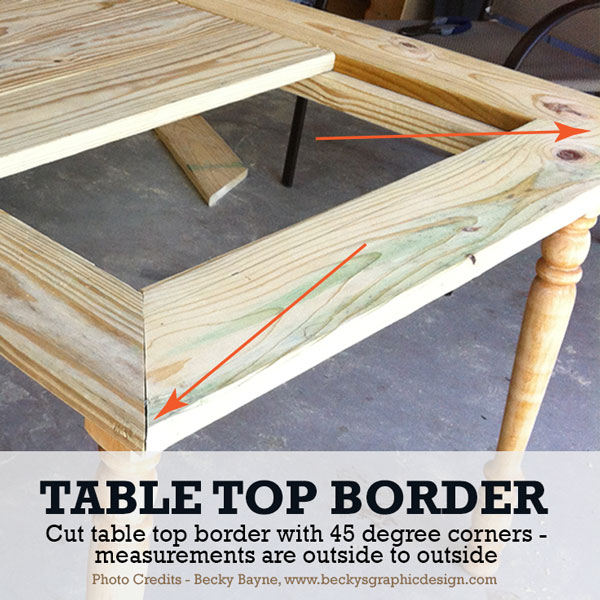 Cut top borders with 45 degree angles