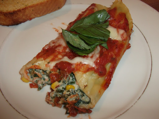Meatless Manicotti with Spinach and Basil