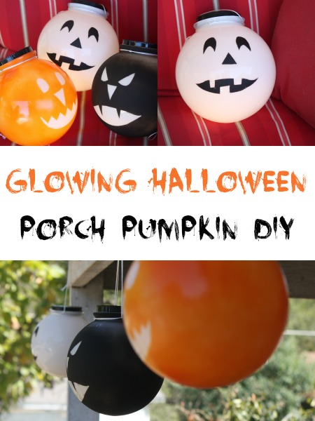 Glowing Halloween Pumpkin DIY for Porch Decor #LowesCreator