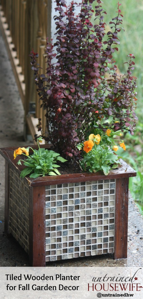 Tiled Wooden Planter DIY Garden Decor