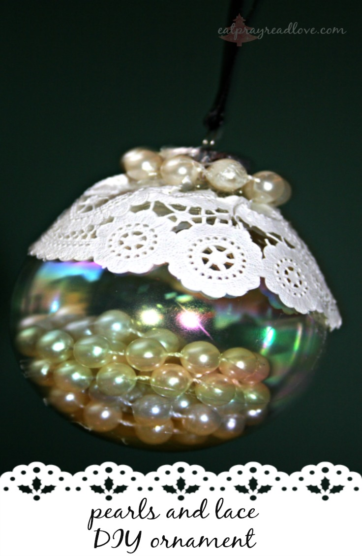 pearls and lace DIY ornament