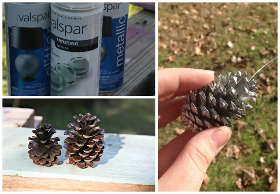 Painting Pine Cones for a Country Christmas Decoration