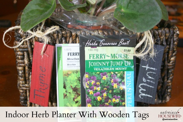 Indoor herb planter with wooden tags