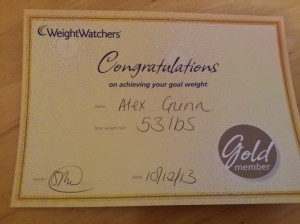 Weight Watchers Gold Certificate